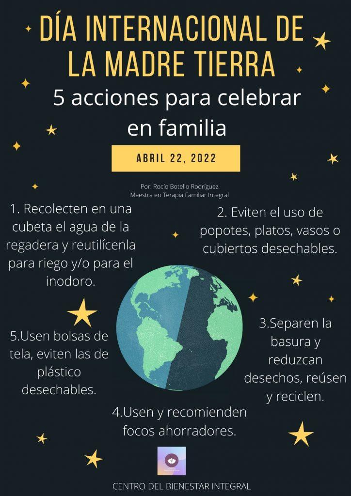 Día Internacional de la Madre Tierra  Tips para cuidar a la madre tierra